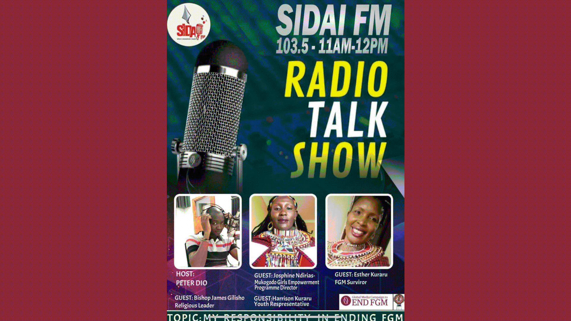 Radio show broadcast in Laikipia, Narok and Samburu share their progress towards Ending FGM